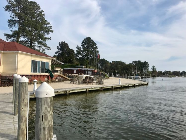Fish Hawk Oyster Bar is a casual eatery by the water at the Tides Inn Irvington VA