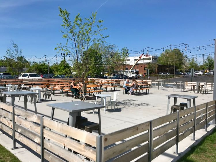Caboose Commons patio in the Mosaic District
