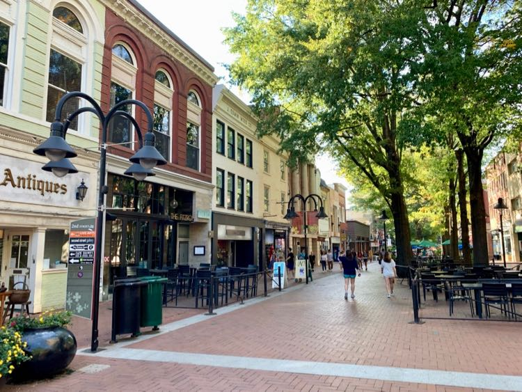The Charlottesville Virginia Downtown Pedestrian Mall is lined with shops and restaurants.