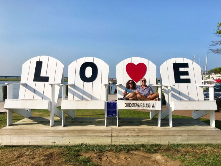 Giant Adirondack chairs are the base for the Chincoteague Island LOVEwork