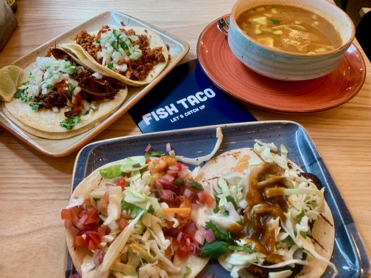 A sampling of tacos at Fish Taco in The Boro, Tysons Virginia