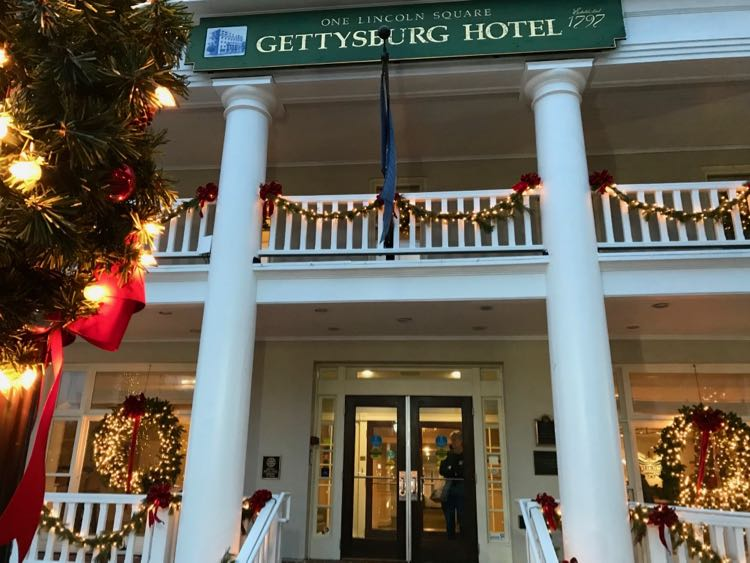 Gettysburg Hotel decorated for the Christmas season.