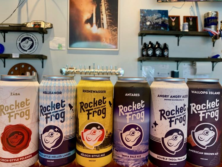 Beer lineup at Rocket Frog Brewing in Sterling on the LoCo Ale Trail