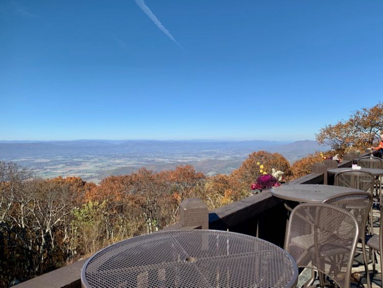 Big Meadows Lodge patio views in Shenandoah NP
