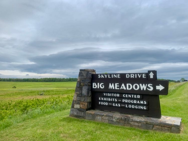 Big Meadows sign Shenandoah NP