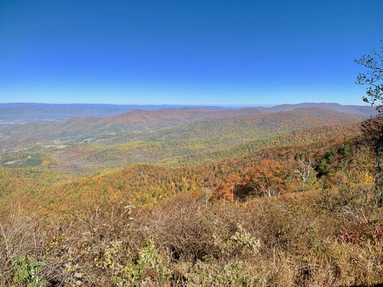 Jewell Hollow Overlook fall foliage in Shenandoah National Park