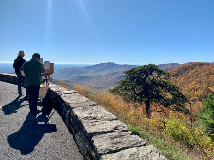 Artists capture the fall foliage at Pinnacles Overlook in Shenandoah National Park.