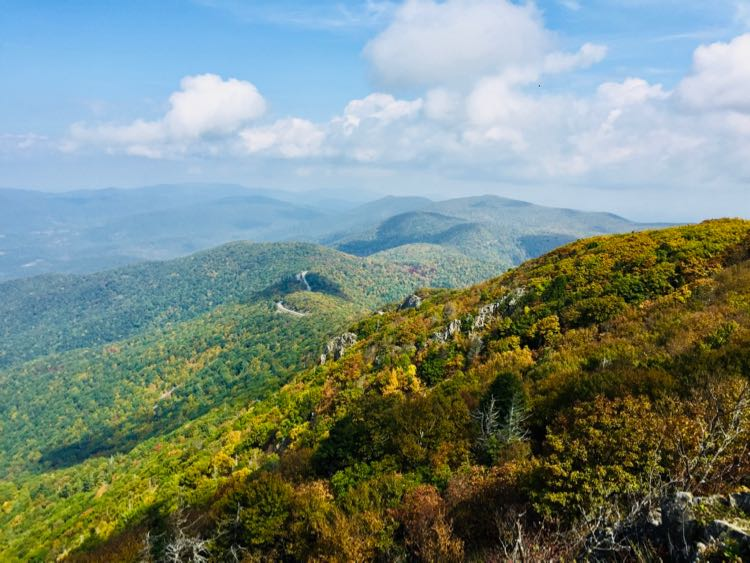 Early October fall foliage view from Stony Man summit in Shenandoah NP