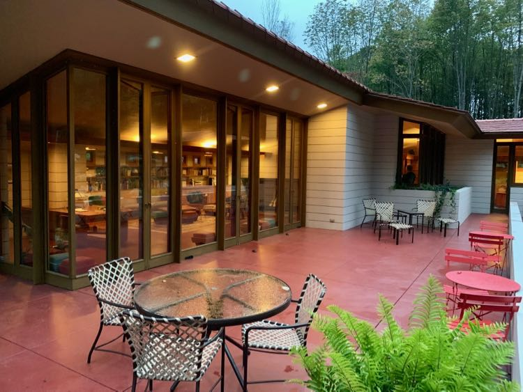 Mantyla's spacious back patio is perfect for cocktails when you stay at Polymath Park PA