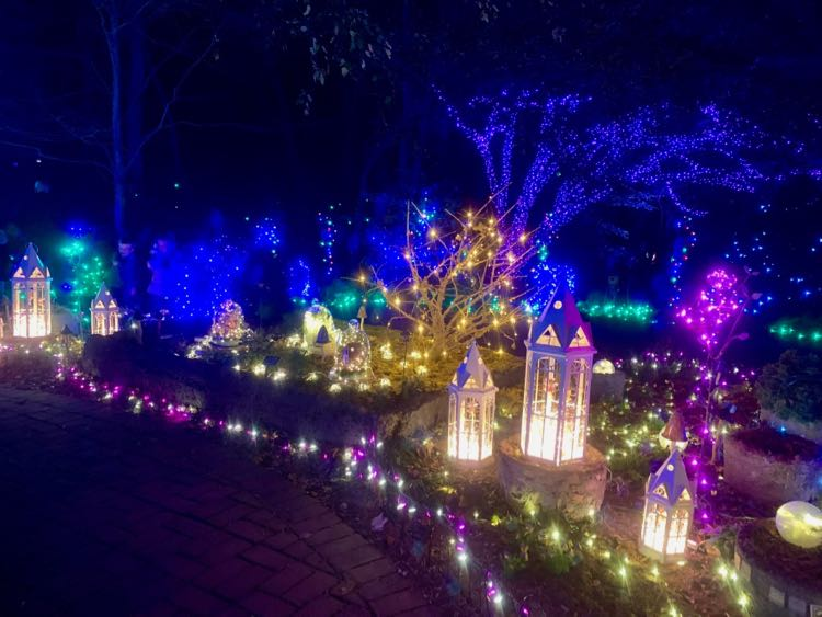The Meadowlark Gardens holiday light show is one of the fun places to visit on Christmas Day in the DC area