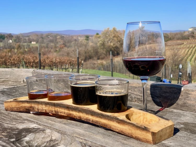 Craft beer flight and a glass of wine at Barrel Oak Winery and Taphouse in Delaplane VA