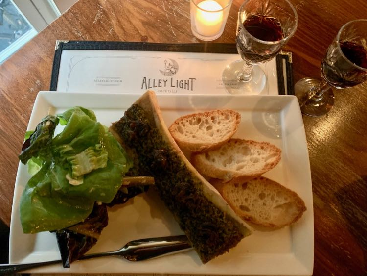 Alley Light bone marrow and port on the Cville Downtown Mall