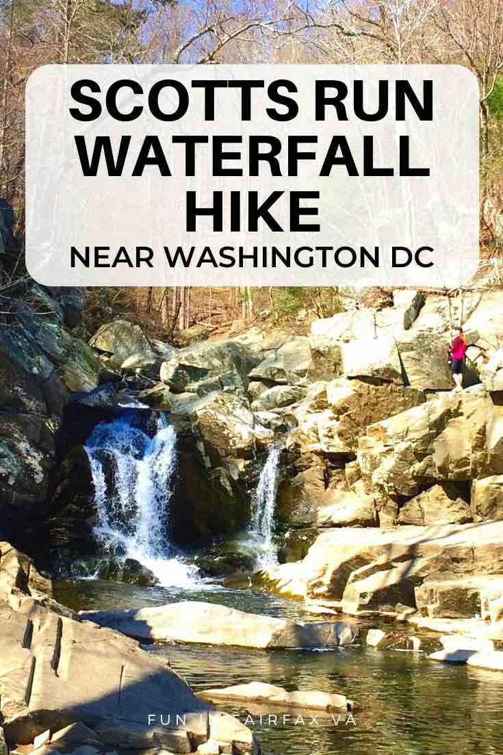 Scotts Run loop hike includes a cliffside view, scenic waterfall, and a nice, somewhat challenging stretch of the Potomac Heritage Trail in Virginia, close to DC.