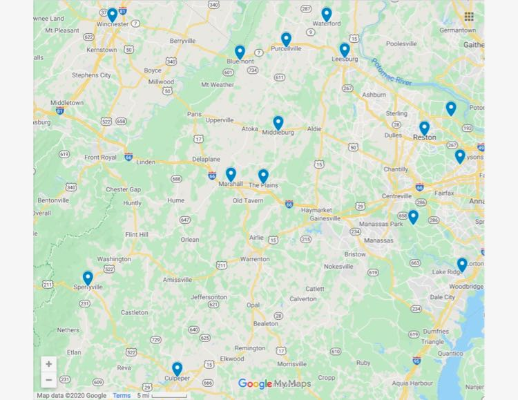 Google Northern Virginia small towns map by FuninFairfaxVA