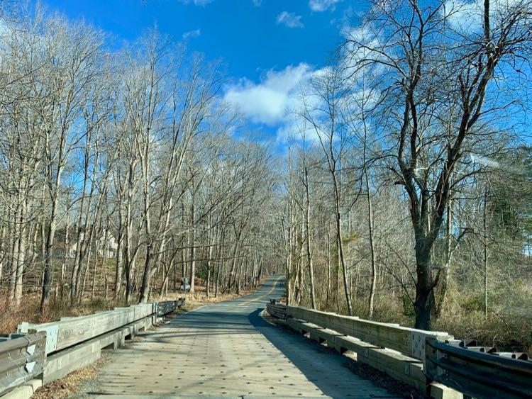 Beach Mill Road one-lane bridge on a Great Falls scenic drive