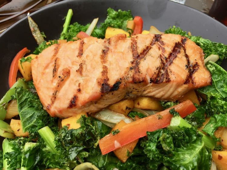 Salmon salad perfect for a nice day on the patio
