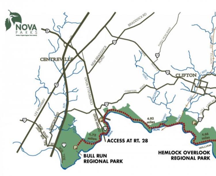 Northern Bull Run Occoquan Trail map by NOVA Parks