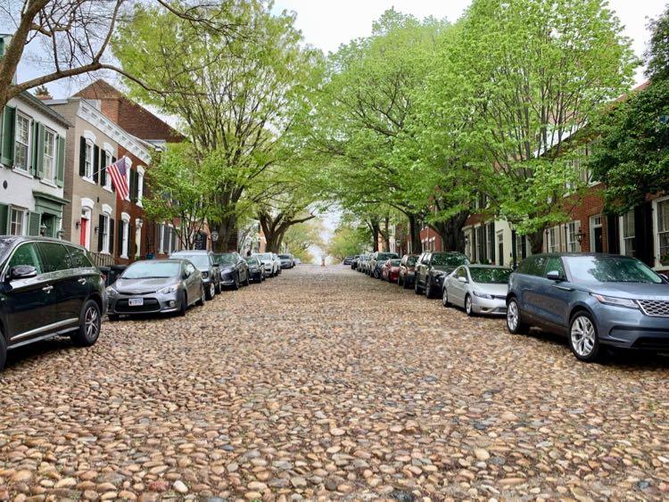 Captains Row cobblestones in Alexandria Virginia