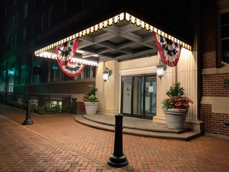 The George Washington Hotel entry welcomes visitors after a day exploring Shenandoah Valley VA